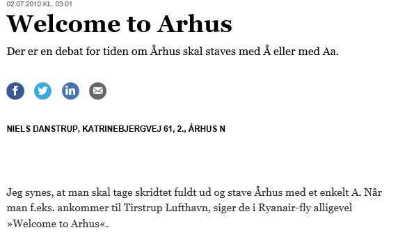 Skal byen hedde Århus eller Aarhus?